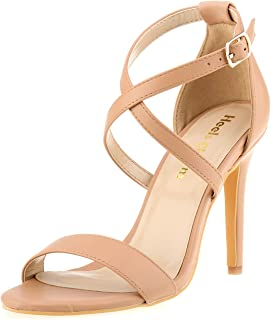 Heels Charm Women Stiletto Open Toe Cross Strappy Heeled Sandals Ankle Strap High Heels Dress Shoes