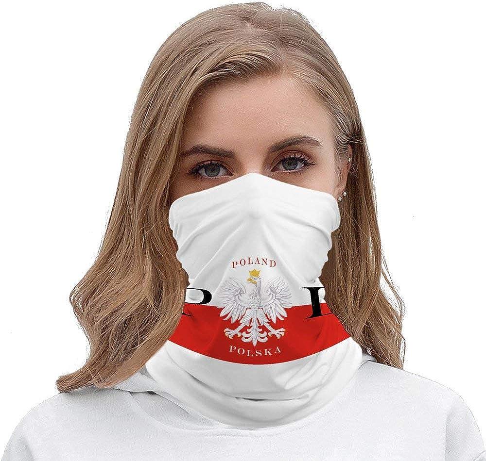 Polish Flag Poland Polska Neck Gaiter Multifunction Seamless Face Mask Unisex Mouth Cover Scarf Headband Headwrap Balaclavas Beanie Bandanas for Sun Protection
