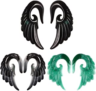 IPINK-Mixed Colors Acrylic Spiral Taper Plug Gauge Ear Stretching Kit, Vintage Angel Wings 3 Pairs