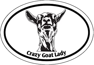 WickedGoodz Oval Crazy Goat Lady Decal - Farming Bumper Sticker - Perfect Goat Owner Gift
