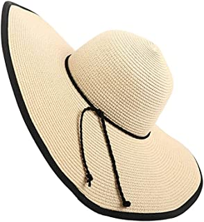 SHYPwM-Hats Straw Sunhat for Women Beach Hat Wide Brim Summer Hat Foldable Comfortable Large Brim Summer Beach Outdoor Hat Anti-UV (Color : Beige, Size : 56CM-58CM)