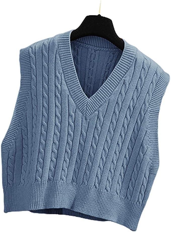 80s Sweatshirts, Sweaters, Vests | Women Lailezou Womens V-Neck Knit Sweater Vest Solid Color Argyle Plaid Preppy Style Sleeveless Crop Knit Vest  AT vintagedancer.com