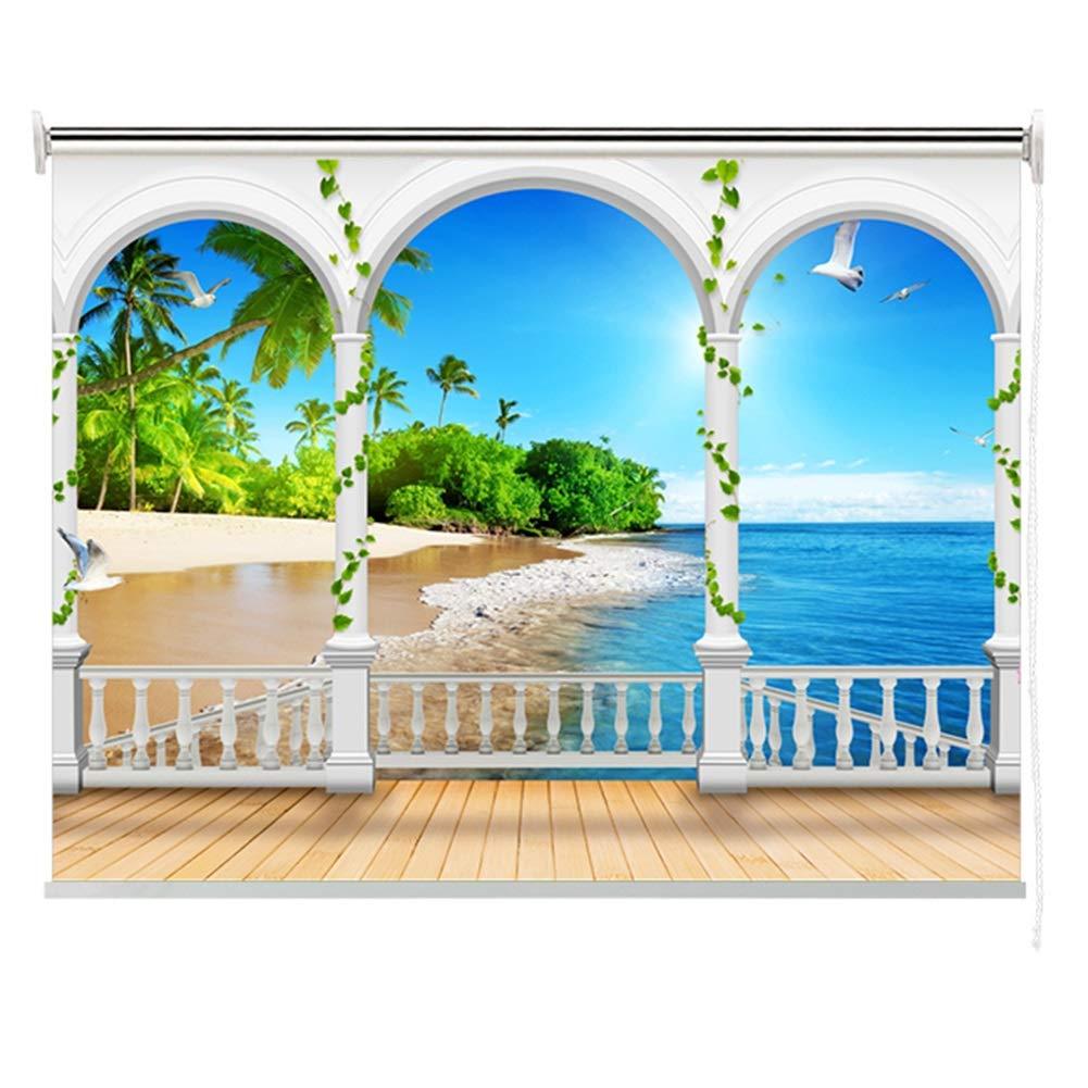 Persianas enrollables Imagen Impresas de Isla Tropical, Sombra de Rodillo de Aislamiento Térmico para Ventanas de Oficina de Dormitorio, 85% de Protección UV: Amazon.es: Hogar