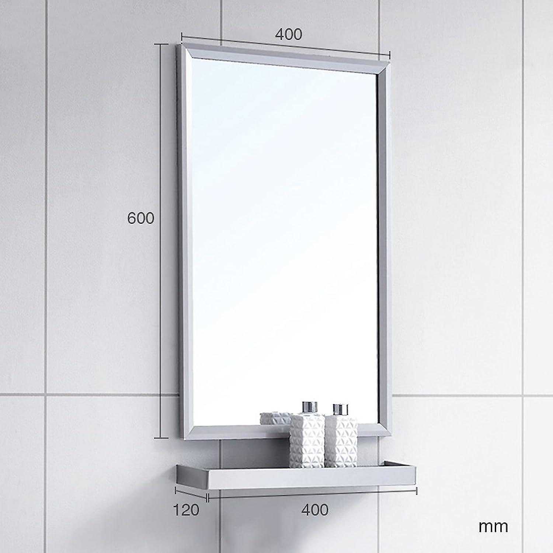 Stainless Steel Bathroom Mirror, Frame Wall Mounted Vanity Mirror Bathroom Wall Mirror Entrance Decorative Mirror Bathroom Mirror with Shelf-A
