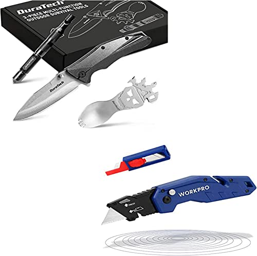 discount WORKPRO Folding Utility Knife, Quick Change Blade, Lightweight Nylon lowest Handle, Utility Cutter with 10-piece Extra online sale Blades+ DURATECH Gifts for Men Dad Fathers Day Tactical Folding Knife sale