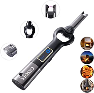 Electric Arc USB Lighter - OBOR Touch Sensor Rechargeable Flameless Windproof Long Candle Plasma Lighter with Flashlight and Bottle Opener for Household Outdoor Camping Cooking Grill BBQ