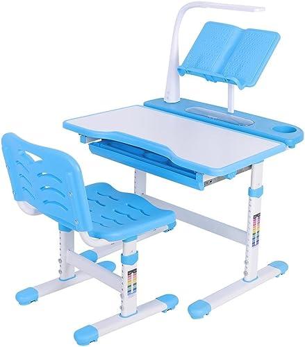 GOTOTOP Kinderschreibtisch, Blau H nverstellbarer Schülerschreibtisch, Winkelverstellbarer Kinderschreibtisch Set mit Stuhl und Touch-Control-Lampe, Leserahmen und ErWeißrungsplatine