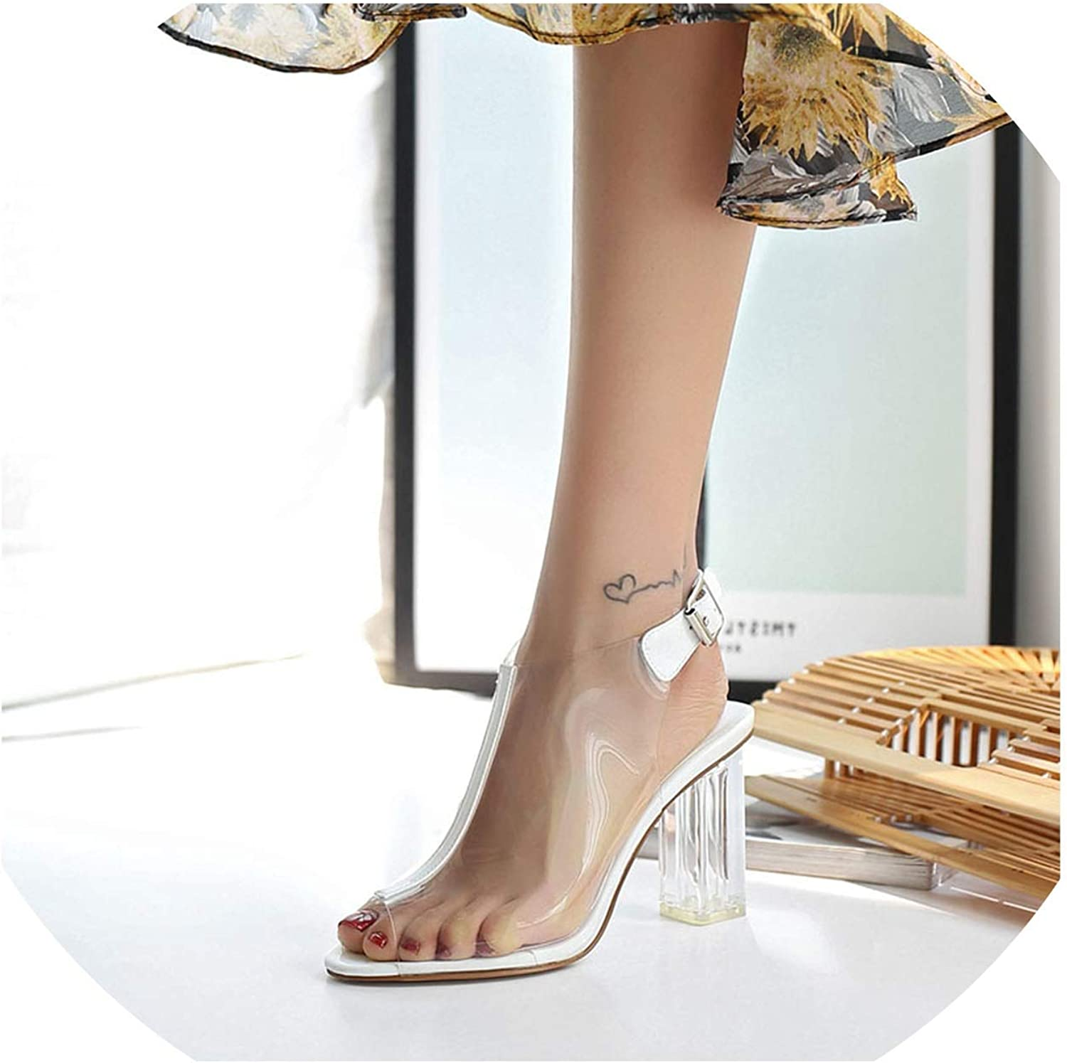 Summer Gladiator Sandals Women Thick High Heels PVC Transparent Peep Toe Sandals Sexy Party Office Dress shoes