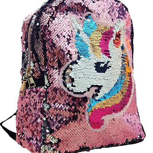 Genérico Mochila niña infantil lentejuelas, mochila para niñas pequeñas de todas las edades, mochila unicornio con lentejuelas (Rosa)