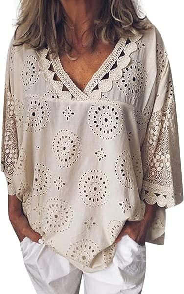 IanWio 女式蕾丝 t恤半袖柔软棉麻镂空蕾丝拼接女式上衣