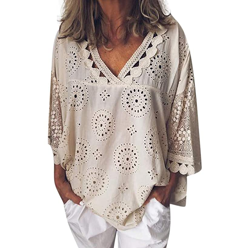 ?QueenBB? Women's Boho Short Sleeve Tops Ladies Hollow Lace V Neck Solid Color Shirt Top Blouse Tee T-Shirt Plus Size