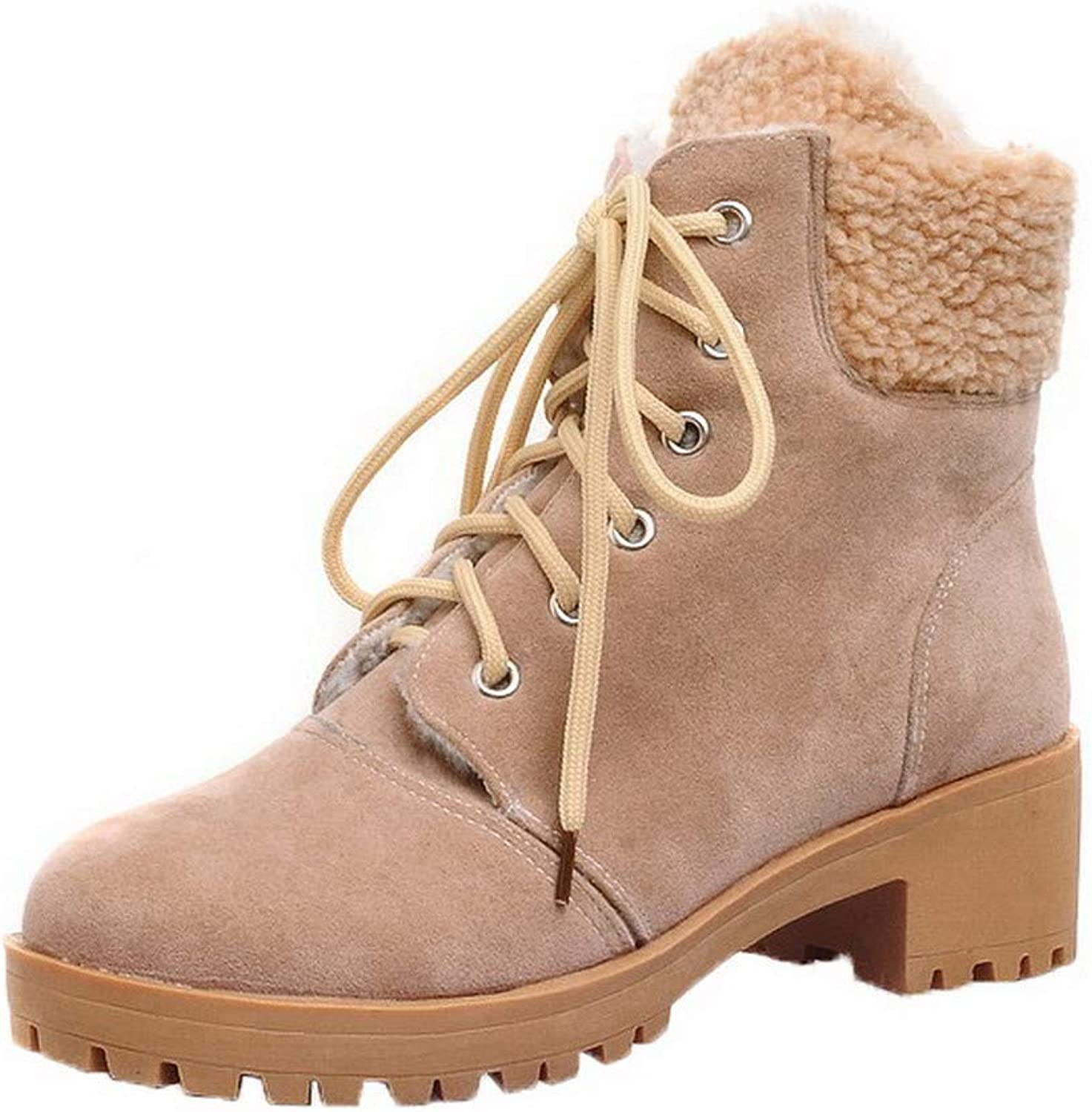 AmoonyFashion Women's Kitten-Heels Ankle-High Assorted color Lace-Up Boots, BUTXT023611