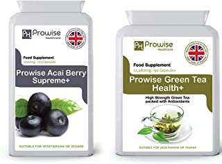 Acai Berry 1000mg 120 Capsules + Green Tea 12480mg 90 Capsules – UK Manufactured to GMP Guaranteed Quality - Suitable for Vegetarians & Vegans by Prowise Healthcare