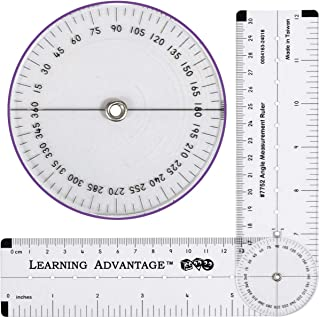 Learning Advantage Angle Measurement Ruler - Clear, Flexible and Adjustable Geometry Measuring Tool - Measure Angles to 360 Degrees and Lines to 12
