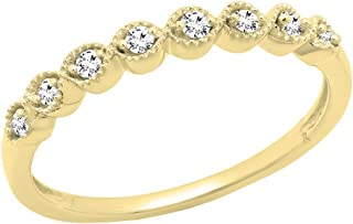 1/10 CT 10K Yellow Gold Round White Diamond Ladies Wedding Anniversary Stackable Band (Size 7)