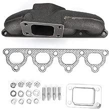 Acouto Turbo Manifold,Turbo Flange Cast Iron Manifold + Gasket Kit Fit for CIVIC/CRX/DEL SOL D15/D16 T3 T3T4,TMF-HD1001102BK-1, TMF-HD1001102BK-1Auc