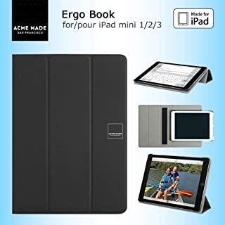 Acme Made Ergo Book 360° - Funda con función atril para iPad Mini 1 2 y 3, diseño de libro con correa de mano, color negro