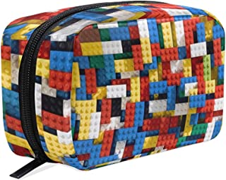 Cosmetic Bag Portable and Suitable for Travel Lego Pattern Make Up bag with Zipper Pencil Bag Pouch Wallet