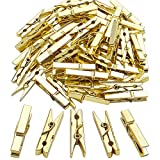 Jdesun 50 Pieces Photo Clips,Mini Plastic Picture Paper Clip Clothespins Peg for Office,Home,Arts(Gold)