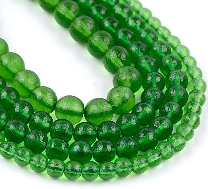 6 8 10mm Natural Stone Beads Green Moldavite Stone Round Loose Beads for Jewelry Making DIY Bracelet Necklace Accessories, (8mm Approx 46pcs)