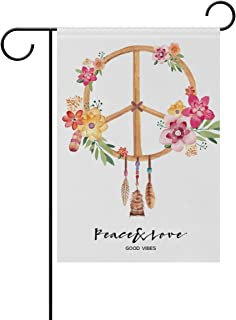 ALAZA Double Sided Colorful Peace Sign Floral Flower Polyester Garden Flag Banner 12 x 18 Inch for Outdoor Home Garden Flower Pot Decor