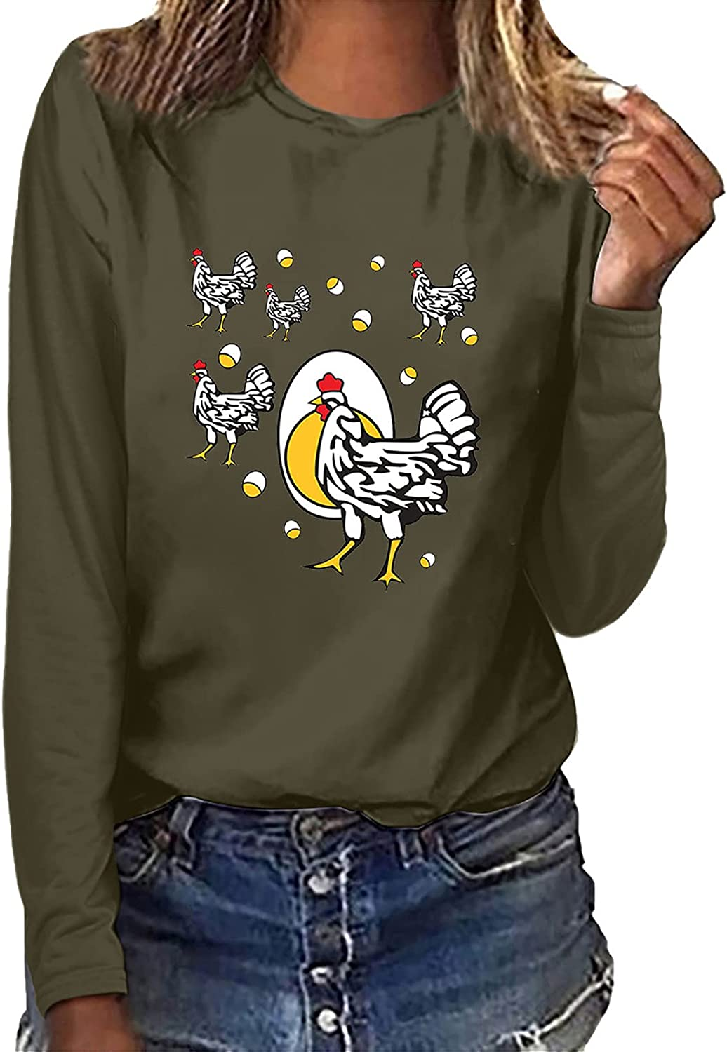 Womens Autumn Loose Long Sleeve Sweatshirt Tops Slim Printed Crew Neck Pullover Casual Asymmetry Blouses T-Shirts