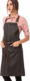 Chef Works Unisex Boulder Bib Apron, Brown/Black, One Size