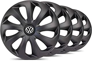 Jogo Calota Velox Unicolor Aro 14 Preta Fosca VW Fox
