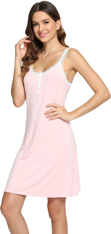 LazyCozy Women's V Neck Lace Full Slip Nightgown