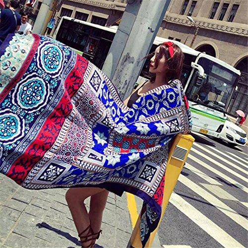 XLNSMZ Sonnenschutz Schal Frauen Vier Jahreszeiten Quaste Schal Geometrische Baumwolle Sonnencreme Schal, H