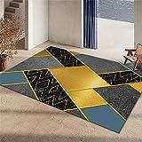 alfombras salón Alfombra Carretera Infantil La Alfombra geométrica Azul Dorado Gris de la Sala de Estar es Suave y resbaladiza Home Decoracion 60X90CM 1ft 11.6' X2ft 11.4'