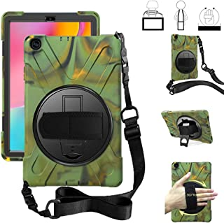 iChicTec Galaxy Tab A 10.1 2019 Case Rotatable Kickstand Hand Strap and Shoulder Strap Cover Heavy Duty Shockproof Rugged Case for Samsung Galaxy Tab A 10.1
