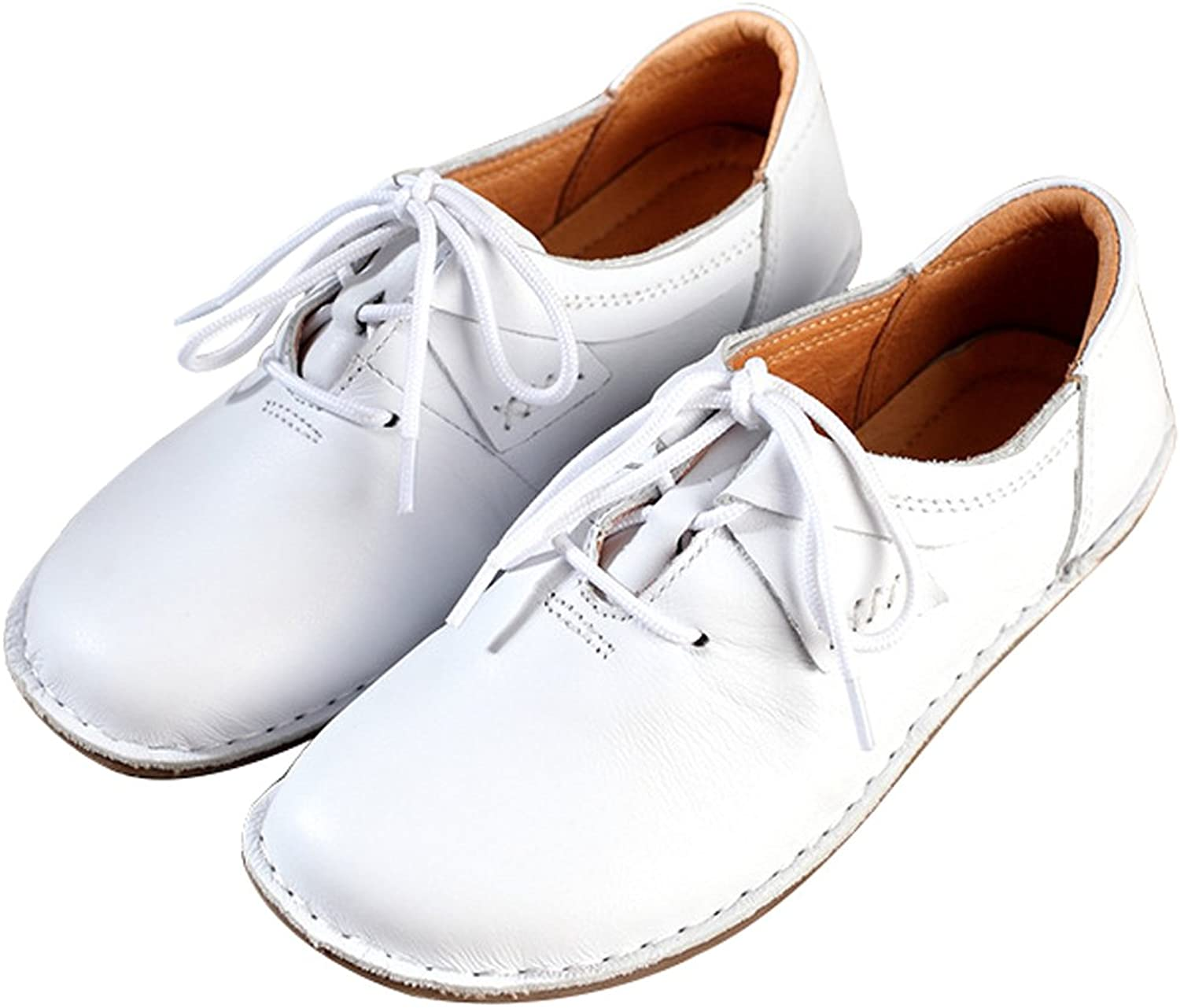 Zoulee Women's Round Toe Hand Made Leather Lace Up Flat shoes White US 8-8.5  CH 40