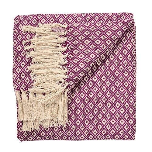 Indian Arts - Manta tejida a mano con patrón de diamante para cama o sofá, 100% algodón de 130 x 180cm, comercio justo, algodón, Morado, 130 x 180cm