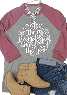 It's The Most Wonderful Time of The Year Baseball T-Shirt Womens Christmas Snowflake 3/4 Sleeve Splicing Tee Tops