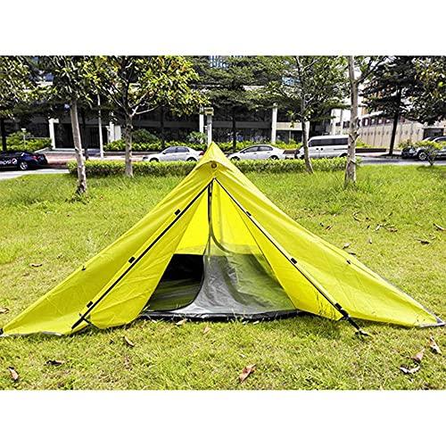 Ultraligero impermeable de dos capas de poste de trekking sin pirámide de la tienda 210T amarillo