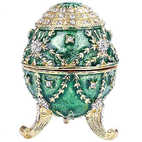 QuRRong geëmailleerd ei geëmailleerd paasei zinklegering scharnierende sieraden doos met sprankelende strass steentjes ambacht Trinket groen voor ringen kettingen