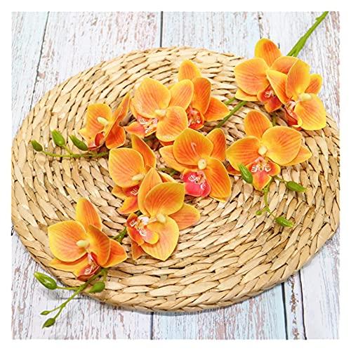 WANGJBH Trockenblumen DIY 3D Druck Künstliche Orchidee Blumen für Zuhause Echte Note Weiß Rosa Künstliche Taube Orchideen Hochzeitsfest Dekoration Künstliche Blume (Color : Orange)