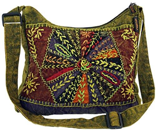 GURU SHOP Schultertasche, Patchwork Hippie Tasche, Goa Tasche - Grün, Herren/Damen, Baumwolle, Size:One Size, 30x30x6 cm, Alternative Umhängetasche, Handtasche aus Stoff
