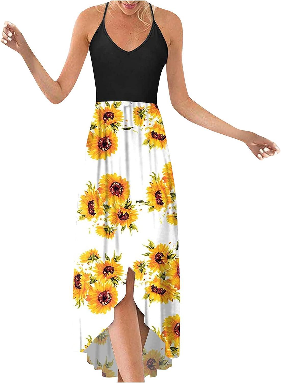 Fashion Women O-Neck Casual Printing Loose Halter Sleeveless Knee Length A-Line Dress