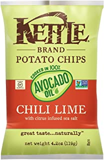 Kettle Brand Potato Chips, 100% Avocado Oil Chili Lime, 4.2 Ounce