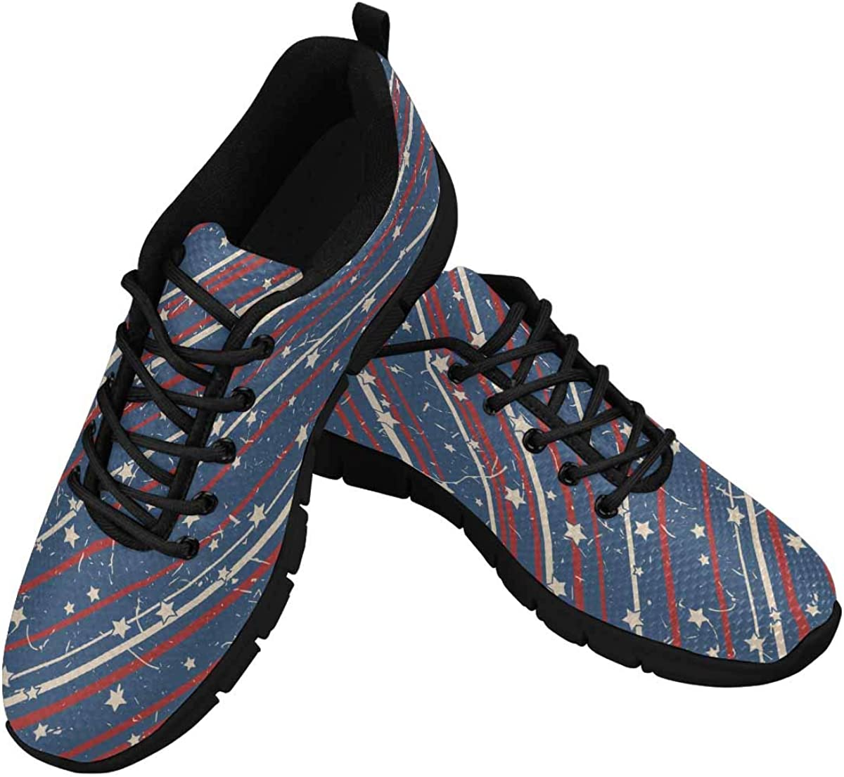 INTERESTPRINT Vintage American Stars and Stripes Women's Breathable Non Slip Sneakers