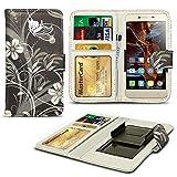 N4U ONLINE® Verschiedene Muster Clip Serie Kunstleder Brieftasche Hülle für Gionee Elife E7 - schwarz Blumen