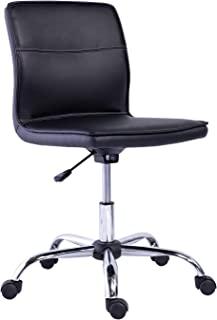 Amazon Basics Modern Armless Office Desk Chair - Height Adjustable, 360-Degree Swivel, 275Lb Capacity - Black/Chrome