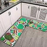 2-teiliges Küchenteppich-Set mit Sukkulenten, Kakteen, Topfpflanzen, grüne Kakteen, für den...