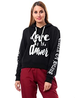 Andora Printed Long Sleeves Ribbed Trim Hooded Sweatshirt for Women - Black, L