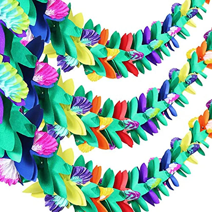 3 Pack Hawaiian Paper Tissue Flower Garland for Tropical/Moana/Luau Themed Party Decoration, 10 Feet Each Pack