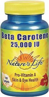 Nature's Life Beta Carotene 25,000 IU 100 Softgels, 100 Count