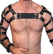 TOPFUR Men's Leather Body Chest Half Harness Belt High Elastic