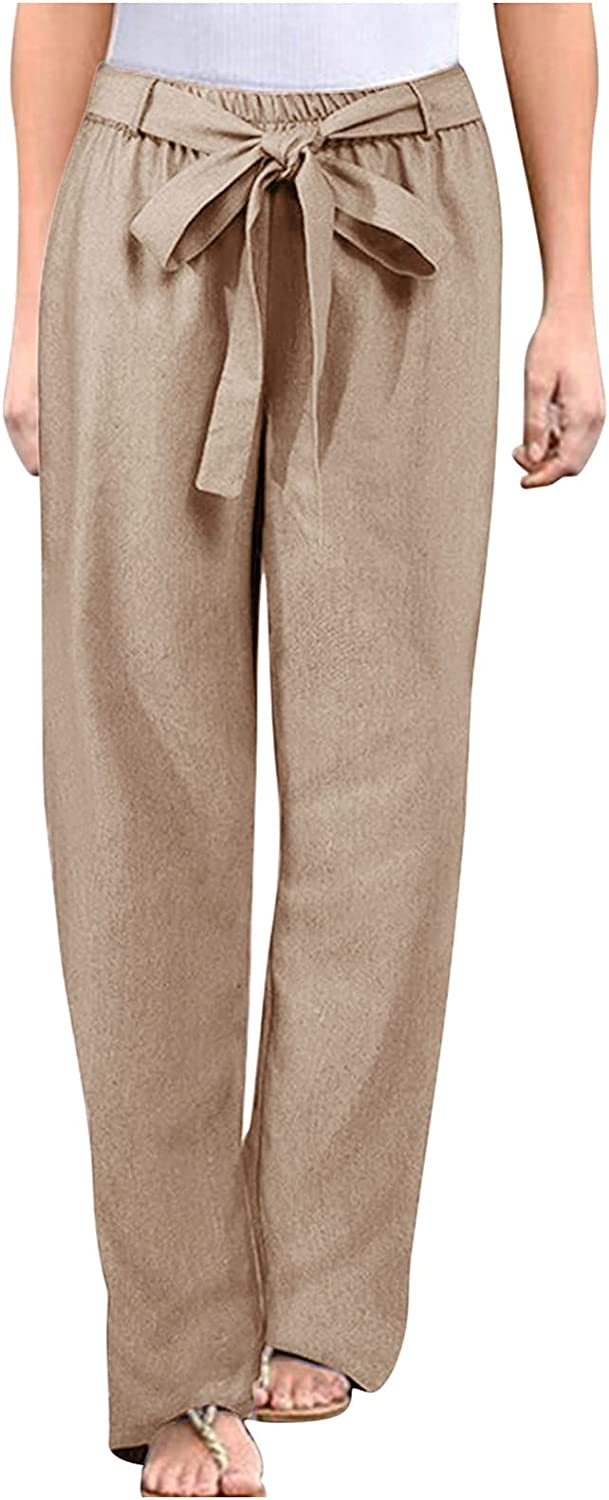 Fankle Women's Casual Cotton Linen Long Pants High Waist Drawstring Loose Fit Casual Trousers